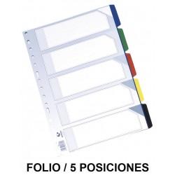Separador 5 posiciones en pvc con multitaladro grafoplas en formato folio, colores surtidos opacos.