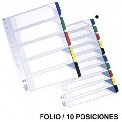 Separador 10 posiciones en pvc con multitaladro grafoplas en formato folio, colores surtidos opacos.