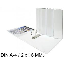 Carpeta de 2 anillas mixtas de 16 mm. personalizable grafoplas total xs en formato din a-4, color blanco.