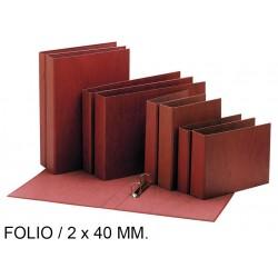 Carpeta de 2 anillas mixtas de 40 mm. en cartón cuero forrado liderpapel en formato folio natural.