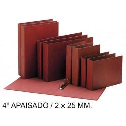 Carpeta de 2 anillas mixtas de 25 mm. en cartón cuero forrado liderpapel en formato 4º apaisado.