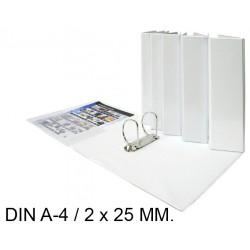 Carpeta de 2 anillas mixtas de 25 mm. personalizable grafoplas total xs en formato din a-4, color blanco.
