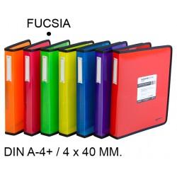 Carpeta de 4 anillas de 40 mm. grafoplas blackline en formato din a-4+ color fucsia.