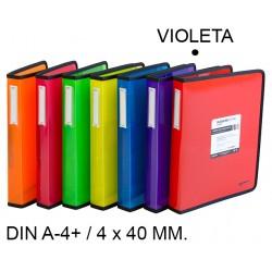 Carpeta de 4 anillas de 40 mm. grafoplas blackline en formato din a-4+ color violeta.