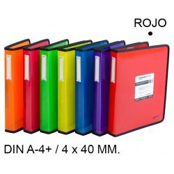 Carpeta de 4 anillas de 40 mm. grafoplas blackline en formato din a-4+ color rojo.