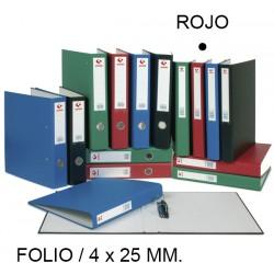 Carpeta de 4 anillas mixtas de 25 mm. grafoplas grafcolor en formato folio, color rojo.