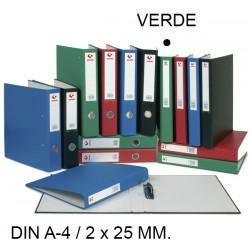 Carpeta de 2 anillas mixtas de 25 mm. grafoplas grafcolor en formato din a-4, color verde.