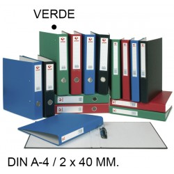 Carpeta de 2 anillas mixtas de 40 mm. grafoplas grafcolor en formato din a-4, color verde.