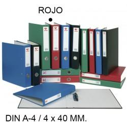 Carpeta de 4 anillas mixtas de 40 mm. grafoplas grafcolor en formato din a-4, color rojo.