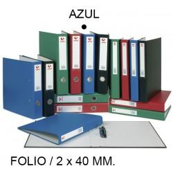 Carpeta de 2 anillas mixtas de 40 mm. grafoplas grafcolor en formato folio, color azul.