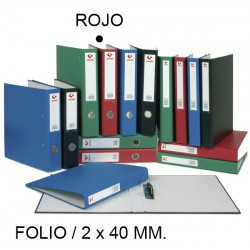 Carpeta de 2 anillas mixtas de 40 mm. grafoplas grafcolor en formato folio, color rojo.