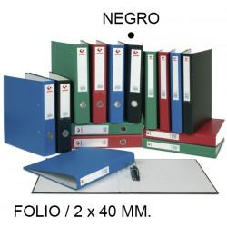 Carpeta de 2 anillas mixtas de 40 mm. grafoplas grafcolor en formato folio, color negro.