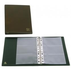 Portatarjetas de visita con 4 anillas mixtas de 20 mm. grafoplas basic en formato 1/4, 60 tarjetas cuero viejo.