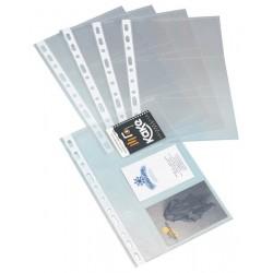 Recambio portatarjetas de visita con 4 anillas mixtas de 20 mm. grafoplas basic en formato 1/4, blister de 10 fundas.
