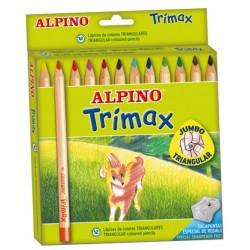 Lápiz de color triangular alpino trimax en colores surtidos, estuche de 12 uds.