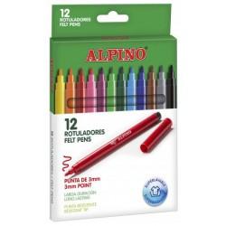 Rotulador escolar alpino standard en colores surtidos, estuche de 12 uds.