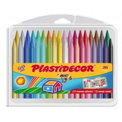 Lápiz de cera bic kids plastidecor en colores surtidos, estuche de 36 uds.