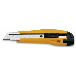 Cutter 3 claveles metal-nylon con cierre de seguridad, 18 mm.