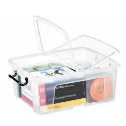Caja de almacenamiento cep cierre con clip 6 litros en color cristal transparente.