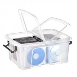 Caja de almacenamiento cep cierre con clip 12 litros en color cristal transparente.