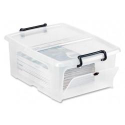Caja de almacenamiento cep cierre con clip 20 litros en color cristal transparente.