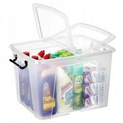 Caja de almacenamiento cep cierre con clip 40 litros en color cristal transparente.