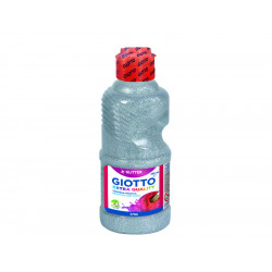 Témpera líquida con purpurina giotto glitter en botella de 250 ml. de color plata.