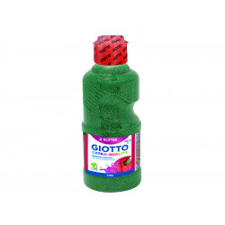 Témpera líquida con purpurina giotto glitter en botella de 250 ml. de color verde.