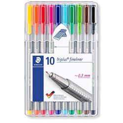 Rotulador escolar staedtler triplus fineliner 334 en colores surtidos, estuche de 10 uds.