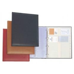 Portatarjetas de visita de calidad superior extra con 4 anillas de 25 mm. pardo de 170x230 mm. en color negro con capacidad para