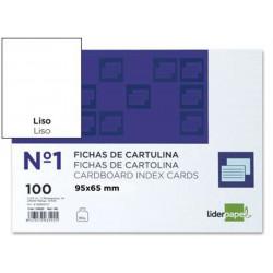Ficha de cartulina liderpapel 65x95 mm. lisa, paquete de 100 uds.