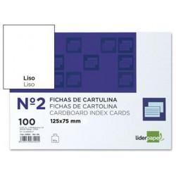 Ficha de cartulina liderpapel 75x125 mm. lisa, paquete de 100 uds.