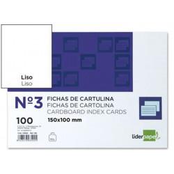 Ficha de cartulina liderpapel 100x150 mm. lisa, paquete de 100 uds.