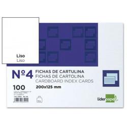 Ficha de cartulina liderpapel 125x200 mm. lisa, paquete de 100 uds.