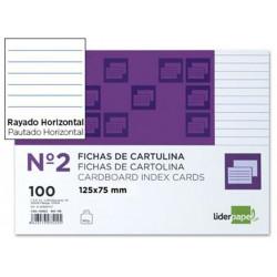Ficha de cartulina liderpapel 75x125 mm. rayado horizontal, paquete de 100 uds.