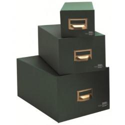 Fichero de cartón forrado liderpapel en color verde para 500 fichas de cartulina del modelo nº 1.