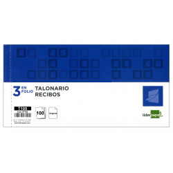 Talonario recibo original con matriz liderpapel en formato 3 en folio apaisado de 205x102 mm.