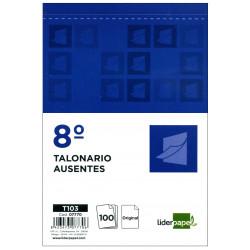 Talonario ausentes original liderpapel en formato 8º natural de 105x155 mm.