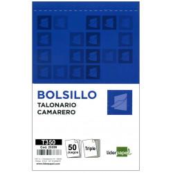Talonario camarero original y 2 copias liderpapel en formato bolsillo natural de 85x135 mm.