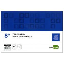 Talonario nota de entrega original y copia liderpapel en formato 8º apaisado de 155x105 mm.
