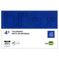 Talonario nota de entrega original liderpapel en formato 4º apaisado de 210x144 mm.