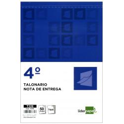 Talonario nota de entrega original y 2 copias liderpapel en formato 4º natural de 144x210 mm.