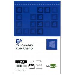 Talonario camarero original liderpapel en formato 8º natural de 105x155 mm.