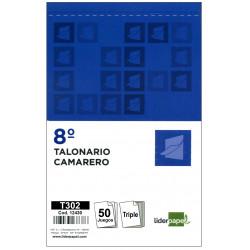Talonario camarero original y 2 copias liderpapel en formato 8º natural de 105x155 mm.