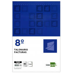 Talonario factura original y copia liderpapel en formato 8º natural de 105x155 mm.