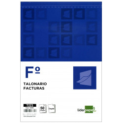 Talonario factura original y copia liderpapel en formato folio natural de 210x315 mm.