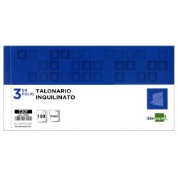 Talonario factura de alquiler original y copia liderpapel en formato 3 en folio apaisado de 205x102 mm.