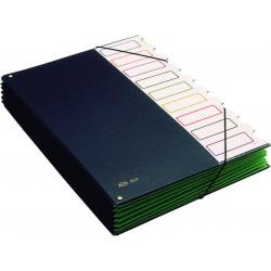 Carpeta clasificador de cartón forrada en p.v.c. de fuelle con 9 departamentos pardo en folio de color negro.