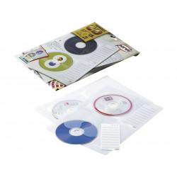 Pack de 5 fundas con 4 taladros transparentes en plástico con tejido especial pardo en din a-4 para 4 cd/dvd´s.