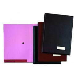 Portafirmas con fuelle de 18 departamentos pardo en folio de color burdeos.